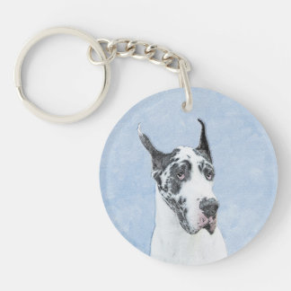 Great Dane (Harlequin) Painting - Original Dog Art Keychain