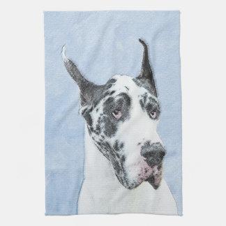 Great Dane (Harlequin) Painting - Original Dog Art Kitchen Towel