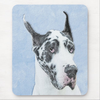 Great Dane (Harlequin) Painting - Original Dog Art Mouse Pad