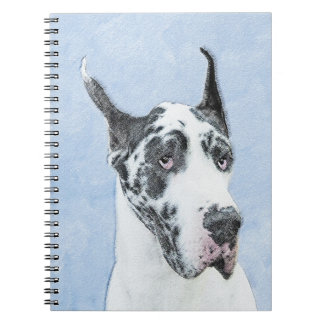 Great Dane (Harlequin) Painting - Original Dog Art Notebook
