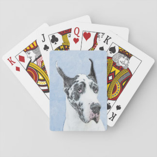 Great Dane (Harlequin) Painting - Original Dog Art Playing Cards