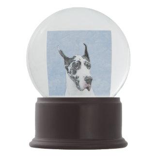 Great Dane (Harlequin) Painting - Original Dog Art Snow Globe