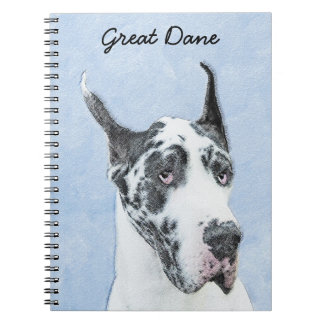Great Dane (Harlequin) Painting - Original Dog Art Spiral Notebook