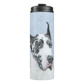 Great Dane (Harlequin) Painting - Original Dog Art Thermal Tumbler