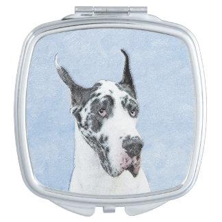 Great Dane (Harlequin) Painting - Original Dog Art Vanity Mirror
