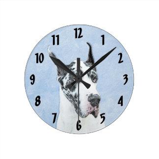 Great Dane (Harlequin) Round Clock