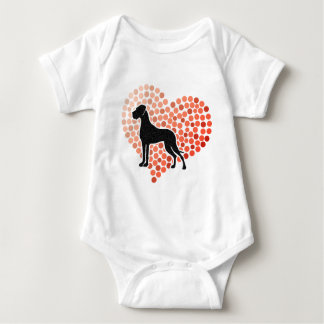Great Dane in a Heart Baby Bodysuit