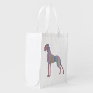 Great Dane in Pastel Colors Reusable Grocery Bag