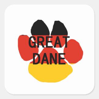 great dane name flag paw square sticker