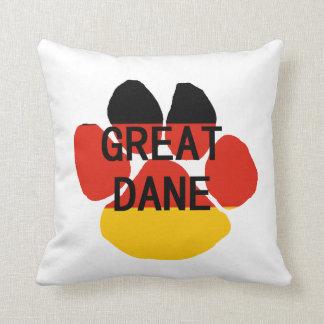 great dane name flag paw throw pillow