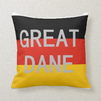 great dane name on flag throw pillow