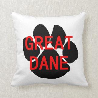 great dane name paw throw pillow