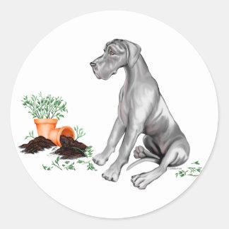 Great Dane Naughty Pup Black UC Classic Round Sticker