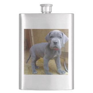 great dane puppy blue hip flask