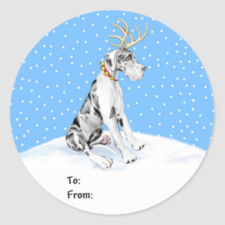 Great Dane Reindeer Christmas Harle UC Gift Tags Round Sticker