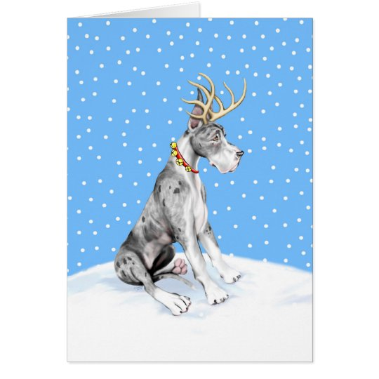 Great Dane Reindeer Christmas Merle Card
