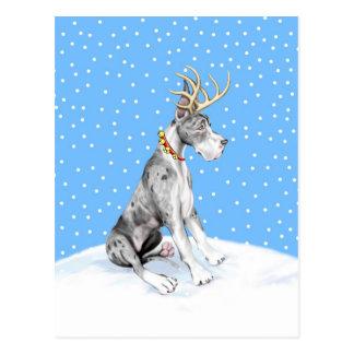 Great Dane Reindeer Christmas Merle Postcard