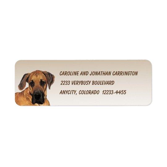 Great Dane Return Address Label