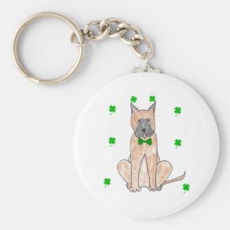 Great Dane Saint Patricks Day Basic Round Button Keychain