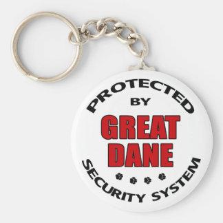 Great Dane Security Basic Round Button Keychain