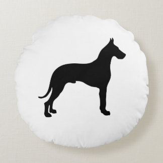 Great Dane Silhouette Round Pillow
