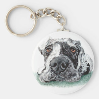 Great Dane Taped Up Merle Basic Round Button Keychain