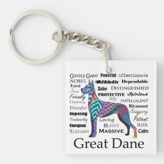 Great Dane Traits Keychain