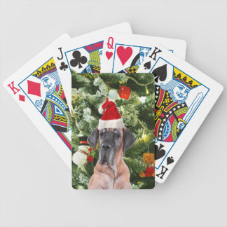 Great Dane w Christmas Tree Gift Boxes Santa Hat Bicycle Playing Cards