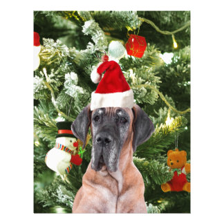Great Dane w Christmas Tree Gift Boxes Santa Hat Letterhead