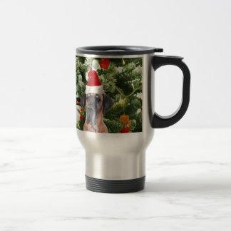 Great Dane w Christmas Tree Gift Boxes Santa Hat Travel Mug