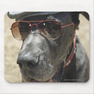 Great Dane wearing hat and sunglasses Mouse Pad