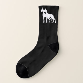 Great Dane White cropped uncropped socks 1