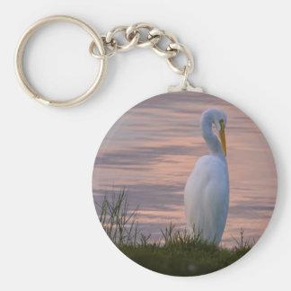 Great Egret at Sunrise Keychain