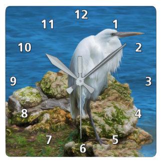Great Egret at Water's Edge Wallclocks