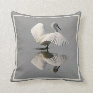 Great Egret Bird Wildlife Animal Photography Throw Pillow
