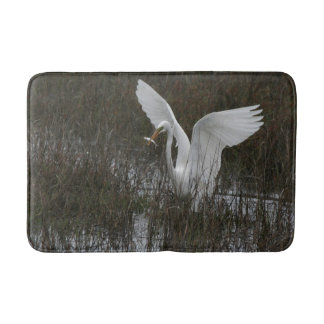 Great Egret Bird Wildlife Animal Wetlands Bath Mat