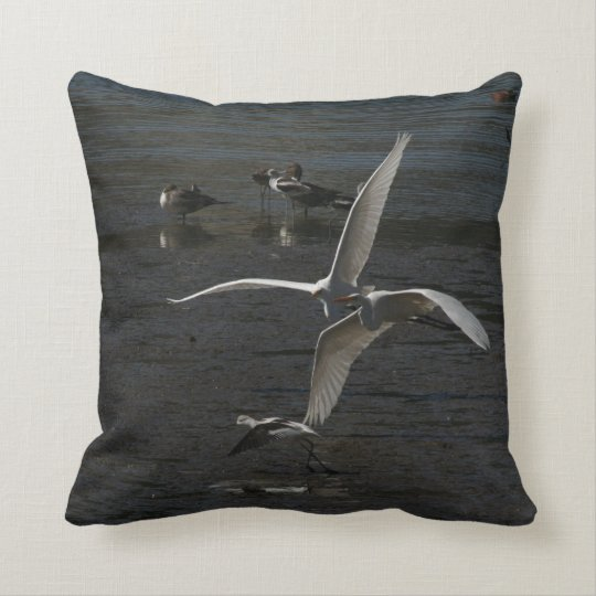 Great Egret Birds Wildlife Animal Photography Throw Pillow