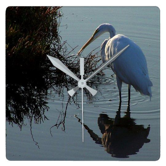 Great Egret Birds Wildlife Animal Photography Wall Clocks