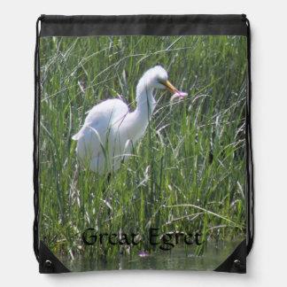 Great Egret Drawstring Backpack