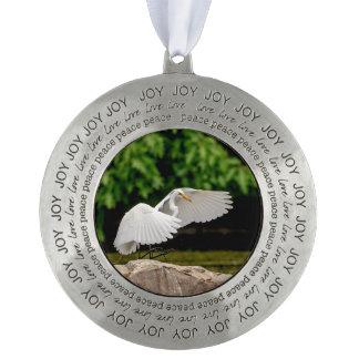 Great Egret Pewter Ornament