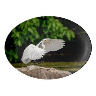 Great Egret Porcelain Serving Platter