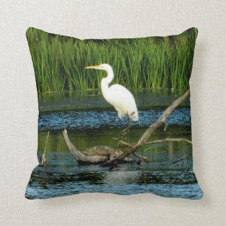 Great Egret Pose Pillow
