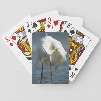 Great Egret preening on the beach. Playing Cards