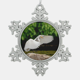 Great Egret Snowflake Pewter Christmas Ornament