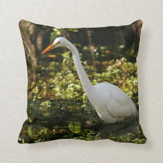 Great Egret Wading in Everglades Throw Pillow