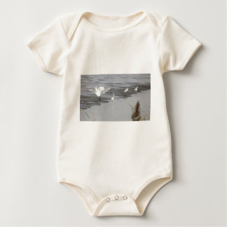 Great Egrets in a swamp Baby Bodysuit