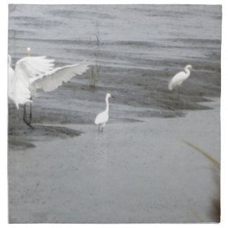 Great Egrets in a swamp Cloth Napkin
