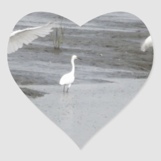 Great Egrets in a swamp Heart Sticker