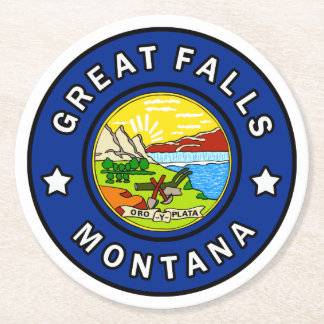 Great Falls Montana Round Paper Coaster