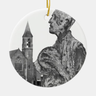 Great Famine of Ireland statues in Dublin Round Ceramic Ornament